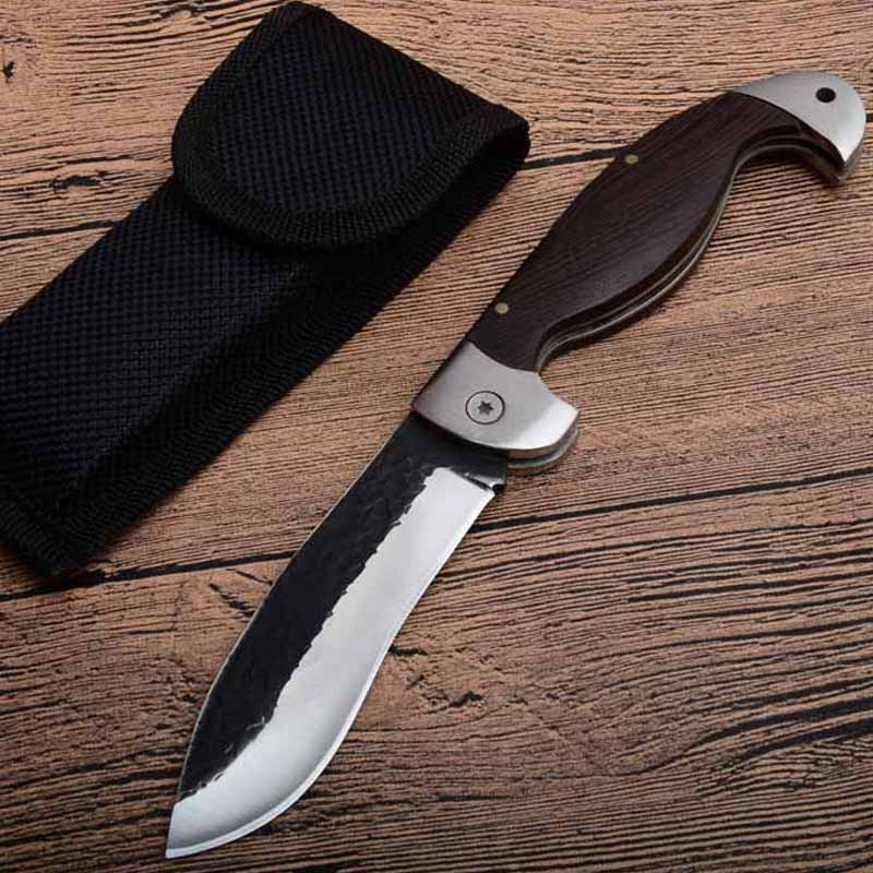 8.2'' Damascus Fighting portable tactical folding knife Color wood handle camping survival Pocket knives outdoor hunting Tools image