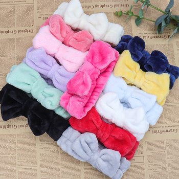 Flannel Cosmetic Headbands Soft Bowknot Elastic Hair Band Hairlace for Washing Face Shower Spa Makeup Tools 3