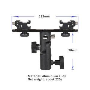 Image 4 - Photo Studio Accessories Flash Bracket Umbrella Holder Light Stand Bracket with 2 Hot Shoe Mount For Flash Speedlight Youngnuo