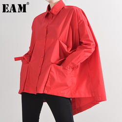 [EAM] Women Red Back Long Pocket Big Size Blouse New Lapel Long Sleeve Loose Fit Shirt Fashion Tide Spring Autumn 2020 1B23603