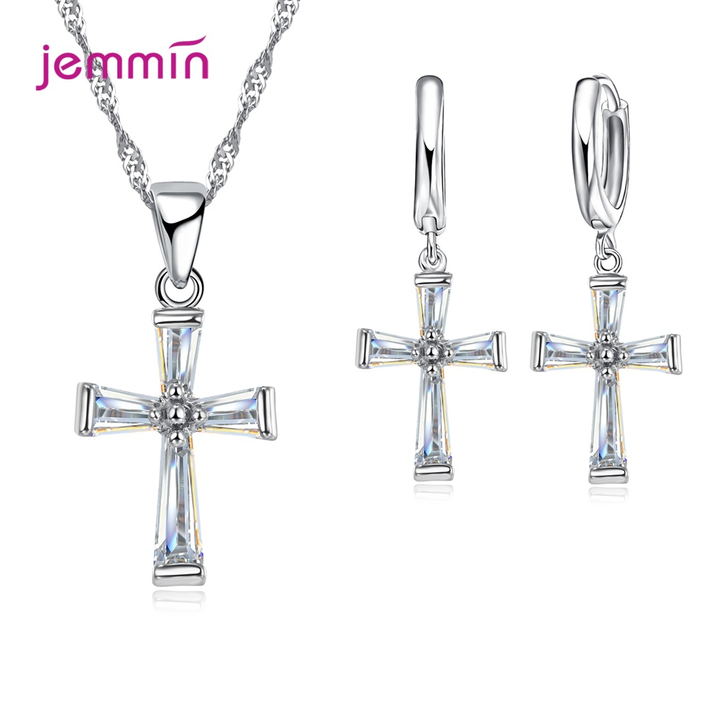 Simple CZ Zircon Stone Women Girls Jewelry Sets Fine S925 Sterling Silver Clear Crystal Cross Necklace/Earrings/Chain