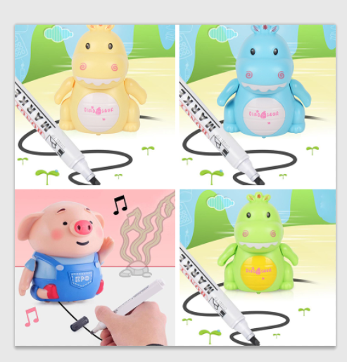 Draw Line Heel Mini Pig Pen Inductive Toys Lightweight And Music Pig Dinosaur Animals Fun Puzzle Education Kid Fun Toys With Pen