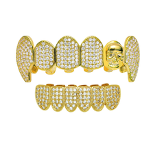 Teeth-Caps Cubic-Zirconia-Top Silver-Color Gold Skull-Grills-Set Clown Fang Bottom Hip-Hop