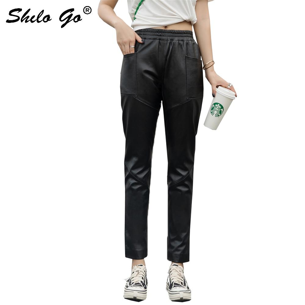 Genuine Leather Pants Black Minimalist Elastic Waist Pocket Trousers Women Autumn High Waist Office Lady Solid Pencil Pants