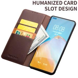Image 3 - Carteira de telefone caso flip capa para huawei p40 p40pro couro genuíno saco do telefone casos negócios capas para huawei p40 pro capa