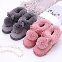 Women House Boots Winter Lovely Rabbit Ears Soft Cotton Warm Shoes Women Snow An