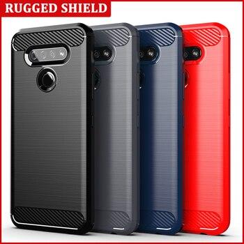 Перейти на Алиэкспресс и купить Чехол из углеродного волокна для LG Q51, чехол для телефона, бампер с полной защитой, чехол для телефона, противоударный бампер для LG K51 Stylo 6 5 K50s ...