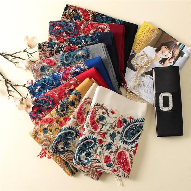 2020 럭셔리 브랜드 여성 스카프 고품질 자 수 겨울 캐시미어 스카프 레이디 shawls 및 랩 여성 pashmina echarpe