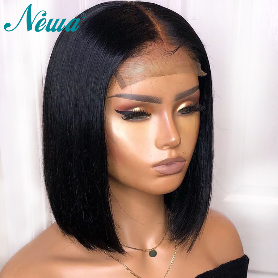 Newa Hair Short Straight Human Hair Bob Wigs Pre Plucked With Baby Hair Brazilian Lace Front Human Hair Wigs For Black Women