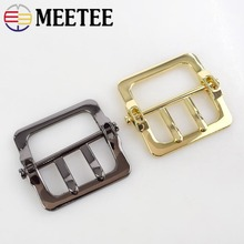 Meetee 4/10pcs High-quality Metal Double Pins Belt Buckle for Men Leather Spare Replacement Bag DIY Garment AccessoryF1-1