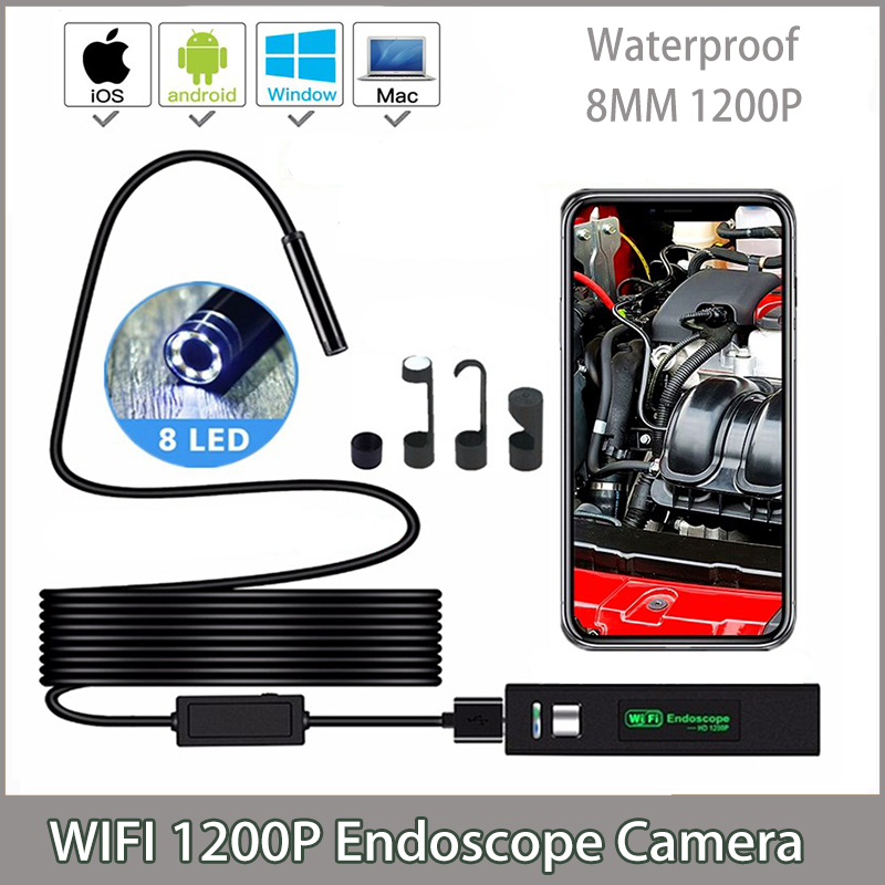 <font><b>1200P</b></font> Wireless WIFI <font><b>Endoscope</b></font> Camera USB Borescope For Iphone Android IOS <font><b>Endoscope</b></font> Mini Waterproof Camera 8MM 2M 5M 10M Hard image