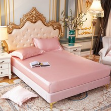 Bedsheet Satin Silk Fitted Sheet High-End Solid Color Mattress Cover Elastic Band Bed Sheet