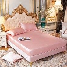 Lençol de cetim de seda lençol de alta qualidade capa de colchão de cor sólida elástico folha de cama