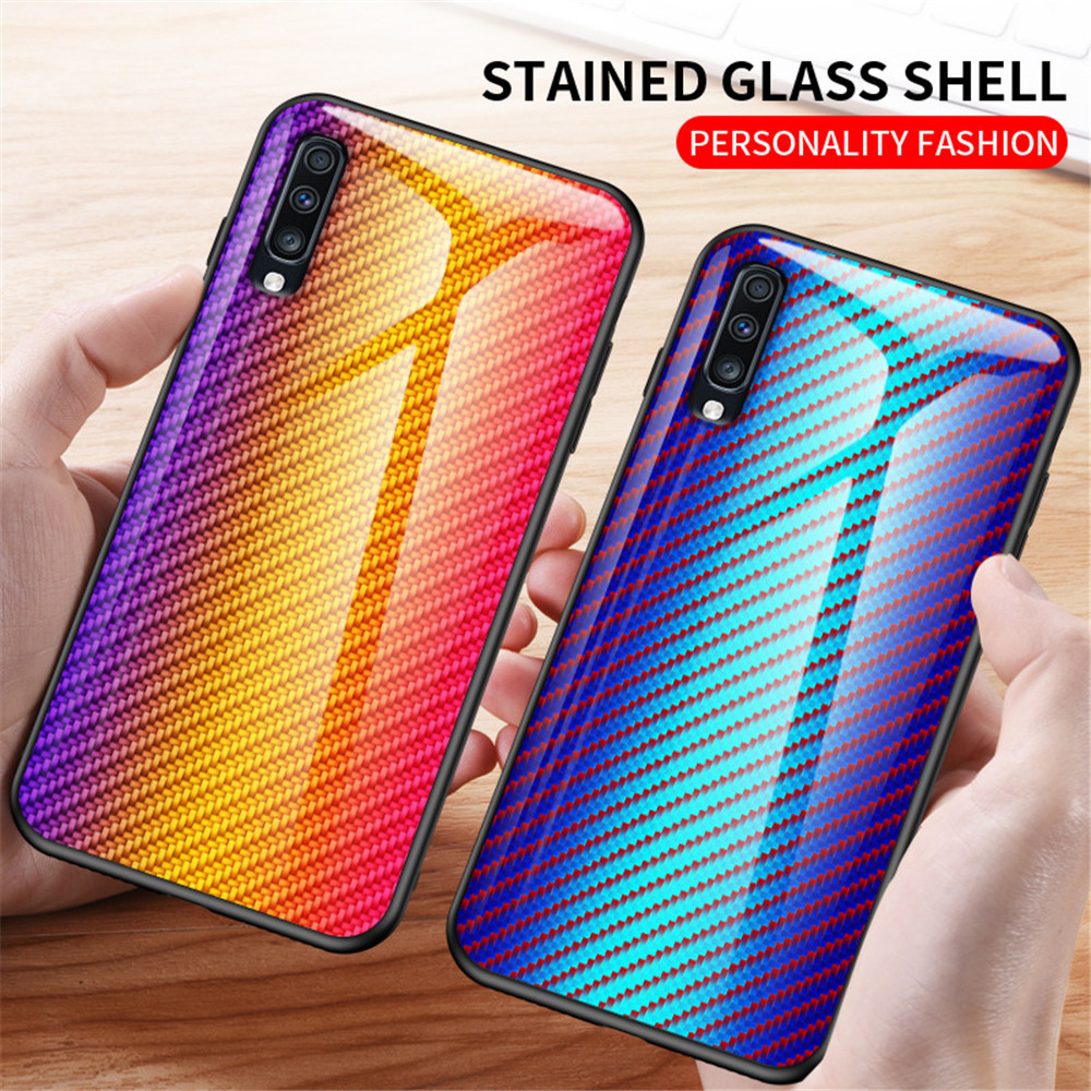 Luxury Gradient Carbon Fiber <font><b>Glass</b></font> <font><b>Case</b></font> For <font><b>Samsung</b></font> Note 10 9 8 S10 S9 S8 Plus A6 A7 A8 A10 A20 A30 A40 <font><b>A50</b></font> A60 A70 A80 A90 S E image