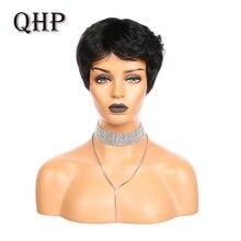 Wigs Bangs Human-Hair Full-Machine Black Pixie with Straight-Short Bob Remy Natural Brazilian