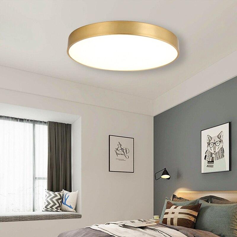 Moderna lámpara de techo LED de oro, lámpara de techo de acrílico montada en superficie, sala de estar nórdica de lámpara, lámpara de interior Lámpara led downlight 10w 230V 110V downlight con atenuación luces empotradas en el techo panel led redondo luz inteligente luz descendente wifi