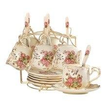 Yolife керамические чашки и блюдца костяной фарфор слоновая кость кофейная чашка набор Британский послеобеденный черный чайный набор фарфоровая чайная чашка с ложкой