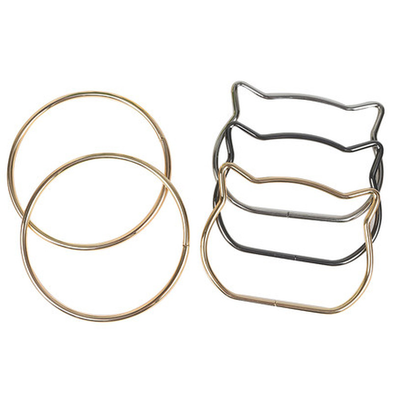 2pcs Cute Cat Ear Bag Handle Metal Handbag Hanger Replacement Handcrafted Rings For DIY Purse Shoulder Bags Accessories