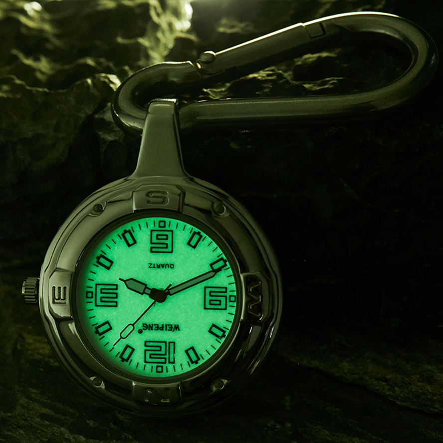 KEYCHAIN Quartz Pocket Watch Luminous Dial Clip Hanging Bag Pendant Fob Chain Reloj For Men Women Male Sliver Montre De Poche