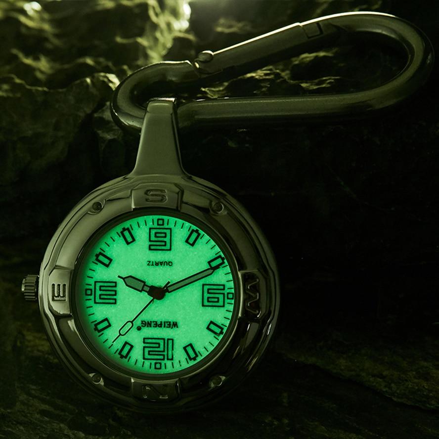 KEYCHAIN Quartz Pocket Watch Luminous Dial Clip Hanging Bag Pendant Fob Chain Reloj For Men Women Male Sliver Montre De Poche