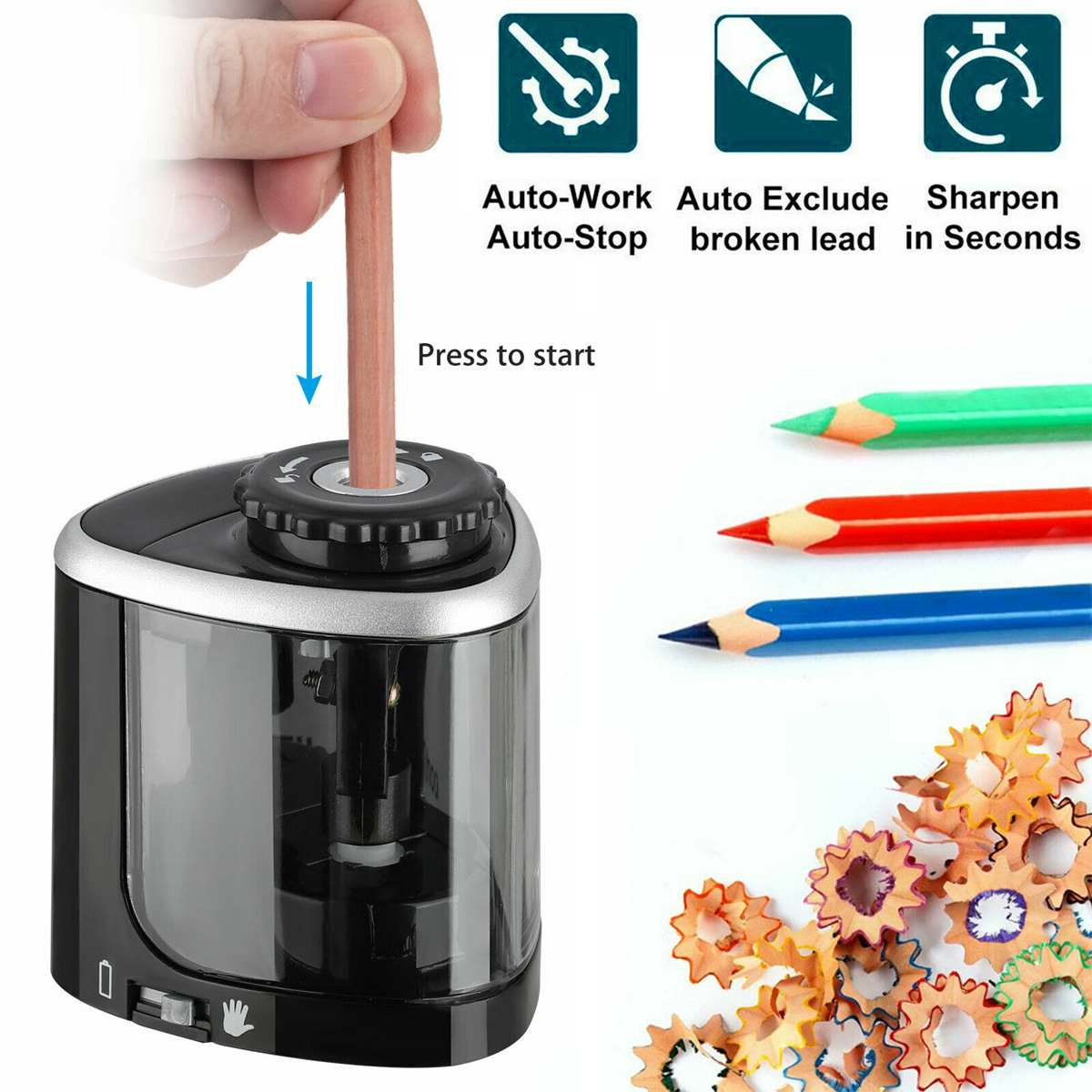 NEW Electric Auto Pencil Sharpener Safe Student Helical Steel Blade Sharpener For Artists Kids Adults Colored Pencils