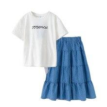 Conjunto de ropa de bebé de marca, trajes chicas equipos de calle, camisa para niños y pantalones vaqueros, Tops de algodón con lazo para niños, pantalones sueltos, #2020