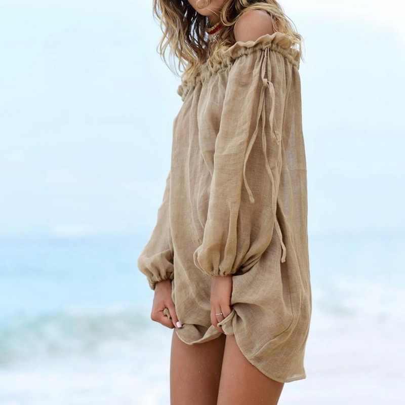 Nuevo Vestido de playa con hombros descubiertos, pareo de Bikini, pareo liso, pareo de baño, ropa de playa de manga larga, Túnica atada para mujer, traje de baño de verano