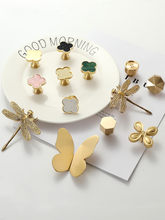 Four Leaf Clover Butterfly Dragonfly bee Insect Bird shape Brass knobs Handle Nordic Light Luxury Pastoral Single Hole pulls