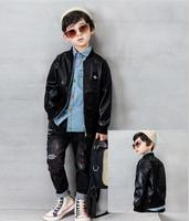 Boy Clothes Faux leather coat + shirts + jeans 3pcs Casual Outfit for autumn boys Clothes Set 2 6years Boys Tracksuit Baby Set