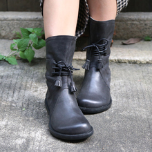 Original Handmade Genuine Leather Mid-calf Boots Round Toe Fringe Comfortable Women Boots Black Large Toe Suitable for Wide Feet цена