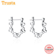 Sterling Silver Flower Hoop Earring Hollow Ear Cuff Clip On S925 Earrings For Women Fine Silver 925 Jewelry DT25(China)