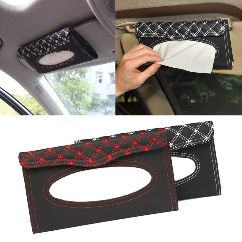 Car Accessories Car Kit Tissue Box Universal PU Car Sun Visor Hanging Type Embroidery Pattern Tissue Cover In Car Styling Tissue Boxes    - AliExpress