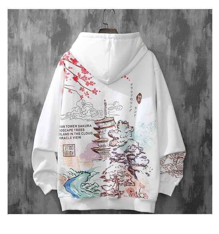 Hoodie Pria Plus Beludru Tren Gaya Harajuku Musim Gugur dan Musim Dingin Pakaian Longgar Hip-Hop Jepang Streetwear Fashion Pasangan Berkerudung