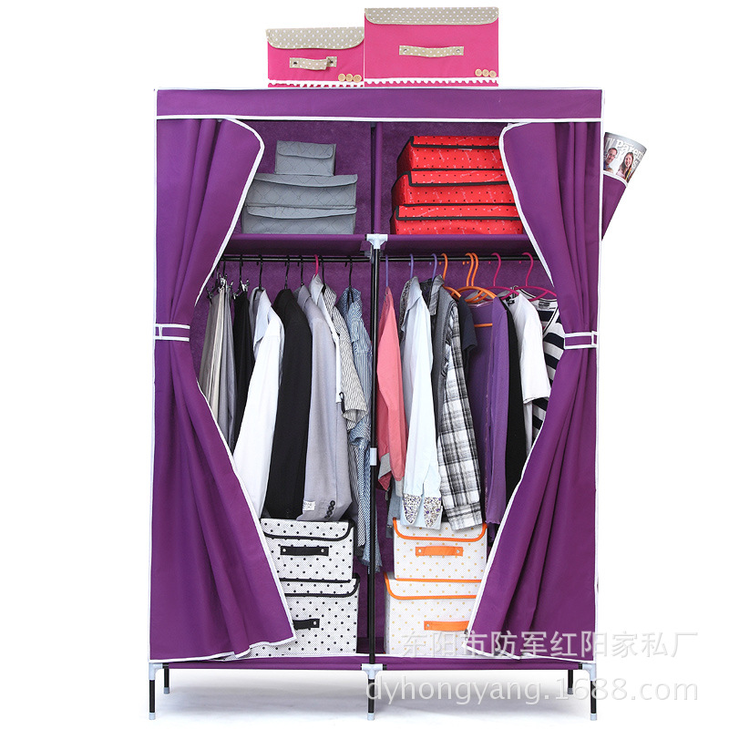 New Style Thick-Style Cloth Wardrobe Simplicity Multi-functional Nonwoven Fabric Component Wardrobe Double Row Wardrobe On Behal