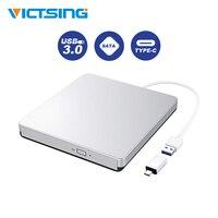 VicTsing External USB 3.0 DVD/CD Drive Portable CD DVD ROM Writer Burner with Type C Connector For Laptop Desktop Windows 7 10 8