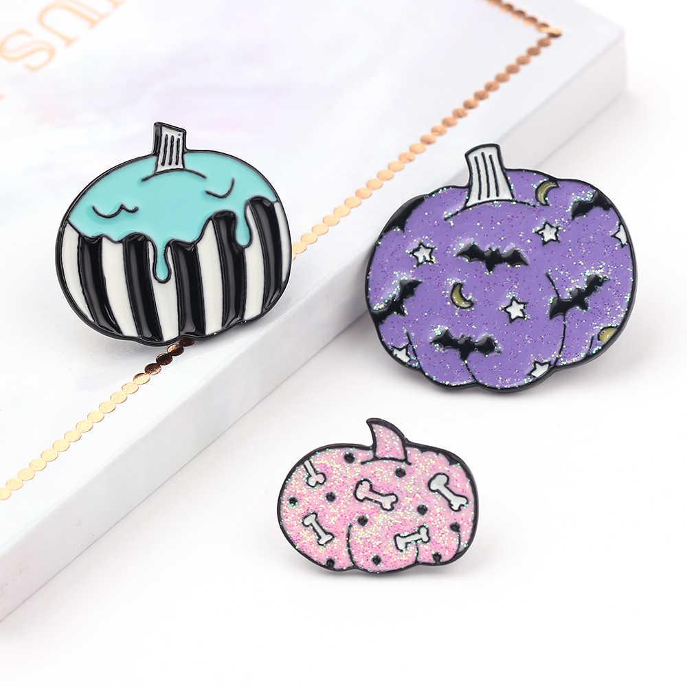 Labu Enamel Pin Kerah Pin Lencana Halloween Perhiasan Bros Wanita Gadis Hadiah