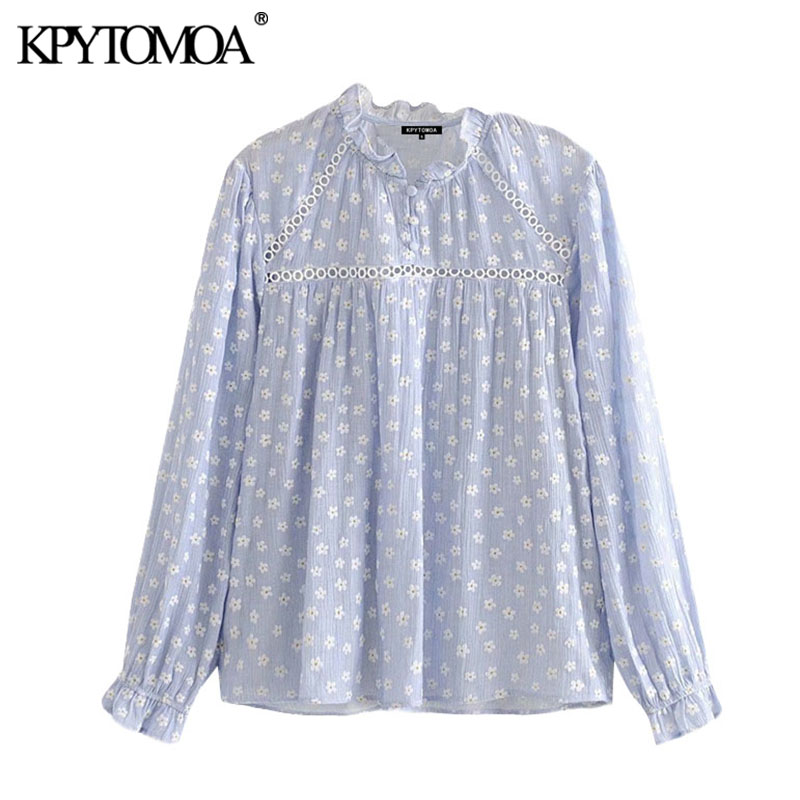 KPYTOMOA Women 2020 Sweet Fashion Floral Print Lace Patchwork Blouses Vintage Ruffle Collar Long Sleeve Female Shirts Chic Tops