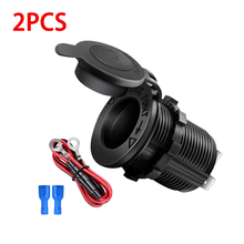 Car Cigarette Lighter Socket 12V-24V Waterproof Plug Power Outlet Adapter for Auto Boat Motorcycle Truck RV ATV with Wire
