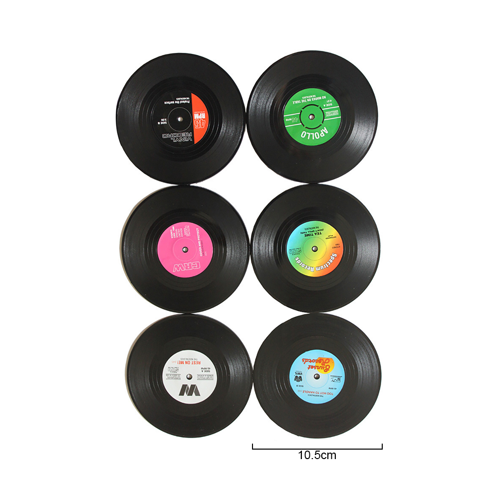 Vinyl Record Table Mats Drink Coaster Table Placemats Creative Coffee Mug Cup Coasters 2 4 6 PCS Heat-resistant Nonslip Pads 3