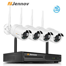 Jennov 5MP 4CH Wireless Security HD Camera System NVR Kit Video Surveillance IP Camera Outdoor WiFi CCTV Set H.264+ Audio System
