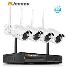 Jennov sistema de cámara de seguridad inalámbrica HD, Kit NVR de 5MP y 4 canales, cámara IP de videovigilancia para exteriores, WiFi, videovigilancia H.264 + sistema de Audio