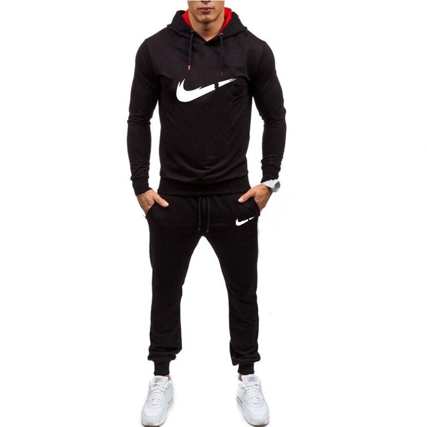 Men's Sportswear 2019 Men's New Casual Jogging Sweatshirt Two-piece Men's Hoodie Men's Sports Pants Set High Street Men