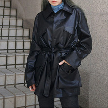 LANMREM Solid Color Single-breasted Long-sleeved Pocket Slim Belt PU Leather Jacket Clothing 2020 Spring Coat TV516 cheap REGULAR STANDARD Loose WOMEN Jackets COTTON Turn-down Collar Single Breasted Outerwear Coats Casual Full