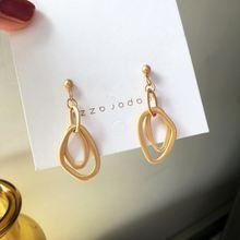 Простые матовые серьги кольца неправильной формы для женщин