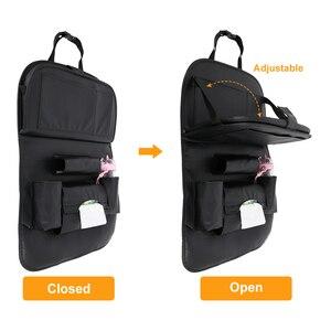 Image 5 - Новая сумка Органайзер из искусственной кожи на заднее сиденье автомобиля, складной органайзер для стола, карман для хранения, дорожная сумка, автомобильные аксессуары