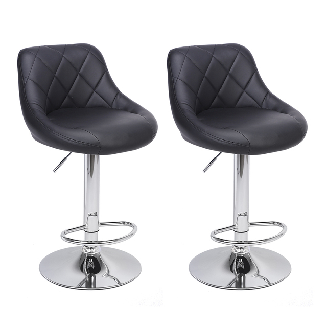 2pcs Adjustable  Bar Chairs High Type with Disk No Armrest Rhombus Backrest Design Bar Stools  Two Colors to Choose 1