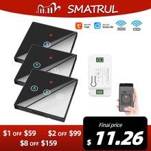 Smatrul Tuya Smart App Wifi Touch Muur Schakelaar Light Draadloze Rf 433Mhz Diy Relais Timer Module Google Home Alexa 110V 220V Op Off