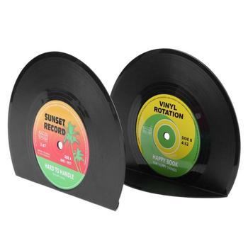 2 szt Kreatywna płyta winylowa w kształcie półki na książki posiadacze szkolne artykuły biurowe na prezent stojak w stylu Retro półka na biurko szkolne materiały biurowe tanie i dobre opinie ALLOYSEED CN (pochodzenie) 2pcs Vinyl Record Shaped Book Other Bookends