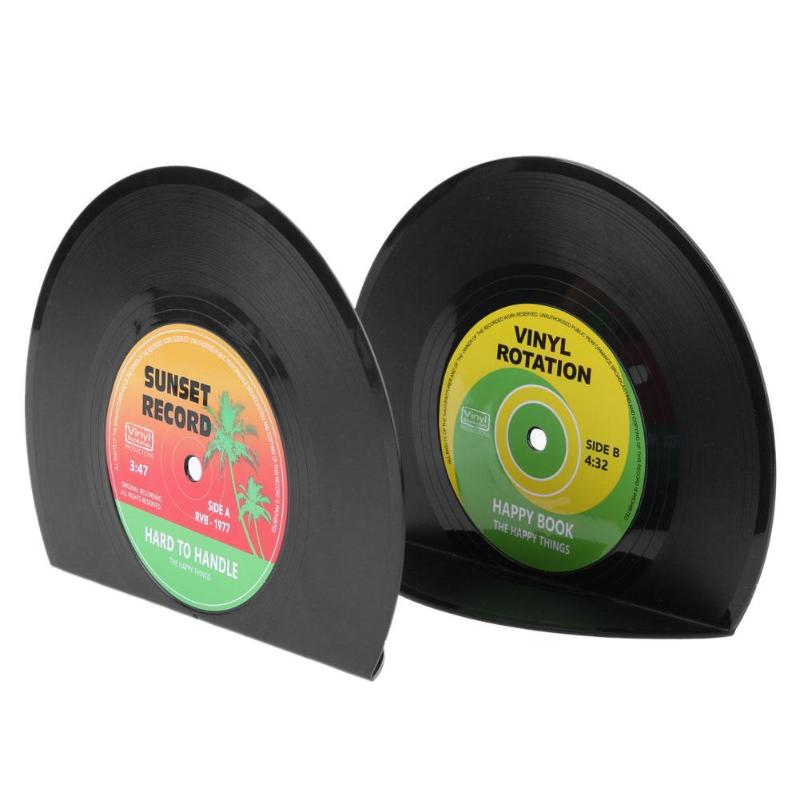 2pcs Creative Vinyl Record Shaped Book Shelves Holders School Office Gifts