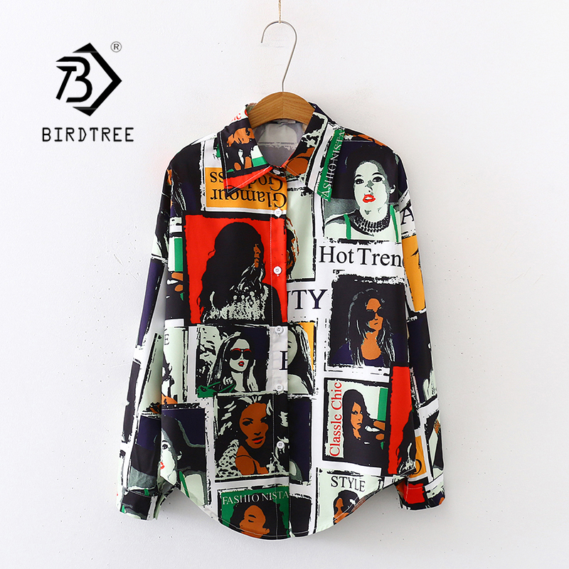 2020 Spring New Women Beauty Comic Print Chiffon Blouse Autumn Long Sleeve Black Shirt Vintage Loose Tops Feminina Blusa T9D746